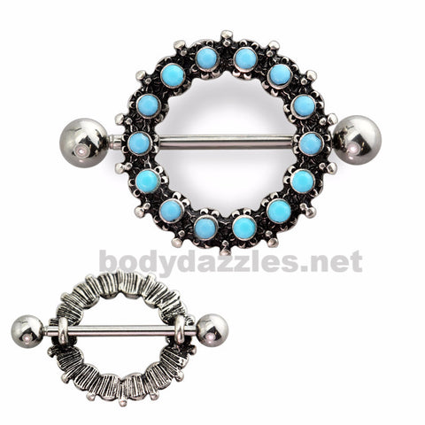 Antique Turquoise Beaded 316L Surgical Steel Nipple Shield  Nipple Barbell 14ga Surgical Steel - BodyDazzles