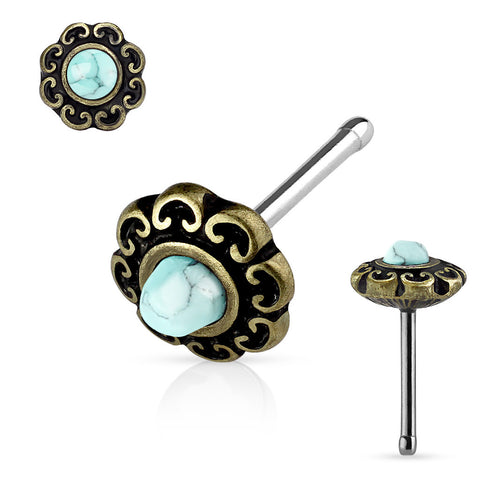 Bronze Turquoise Centered Tribal Heart Filigree Antique Plated Top 316L surgical Steel Nose Stud Rings - BodyDazzle