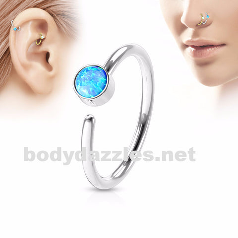 Blue Opal Set Surgical Steel Nose Hoop Ring Nose Ring Helix Daith Cartilage Body Jewelry 20ga