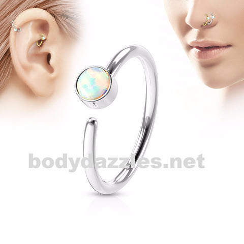 White Opal Set Surgical Steel Nose Hoop Ring Nose Ring Helix Daith Cartilage  Body Jewelry 20ga