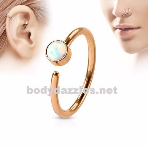 Rose Gold with White Opal Set Surgical Steel Nose Hoop Ring Nose Helix Daith Cartilage Ring Body Jewelry 20ga