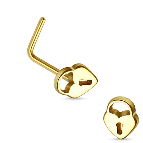 Lock and Key Gold Nose Screw Body Jewelry 20ga Nose Jewelry Body Piercing - BodyDazzle