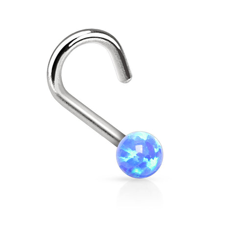 "Blue Fire Opal Nose Ring Nose Jewelry 20ga 1/4"" Body Jewelry Piercing Jewelry - BodyDazzle - 1"