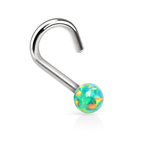 "Green Fire Opal Nose Ring Nose Jewelry 20ga 1/4"" Body Jewelry Piercing Jewelry - BodyDazzle - 1"