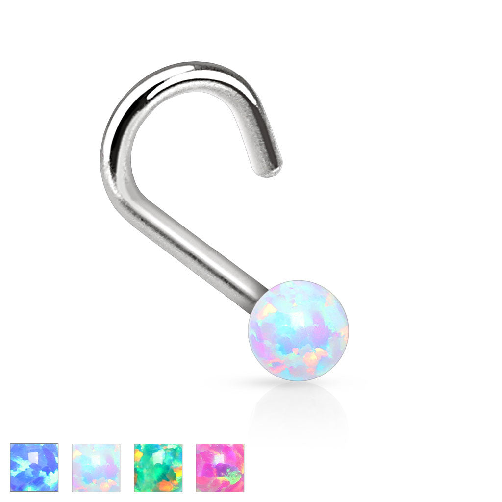 Green Fire Opal Nose Ring Nose Jewelry 20ga 1 4 Body Jewelry