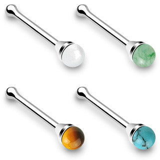 "Nose Ring Natural Stone Turquoise Jewelry 20ga 1/4"" Body Jewelry Piercing Jewelry - BodyDazzle"