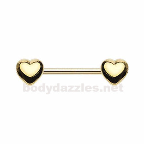Pair of Golden Classic Heart Nipple Barbell Ring Nipple Piercing 14ga Surgical Steel Body Jewery