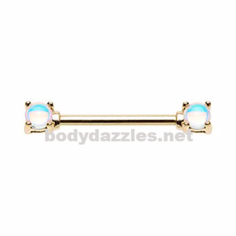 Pair of Golden Revo Double Prong Gem Nipple Barbell Ring 14ga
