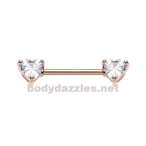 Pair Of Rose Gold Double Heart Gem Nipple Barbell Ring 14ga