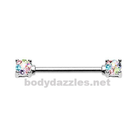 Pair Of Sprinkle Dot Multi Gem Prong Set Nipple Barbell Ring 14ga