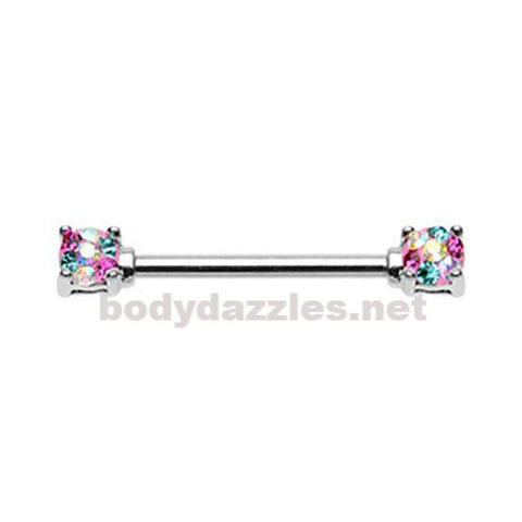 Pair Of  Multi Color Sprinkle Dot Multi Gem Prong Set Nipple Barbell Ring 14ga