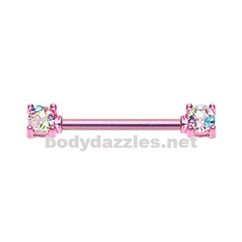 Color Multi Color Pink Sprinkle Dot Multi Gem Prong Set Nipple Barbell Ring 316L Surgical Steel Nipple Barbells