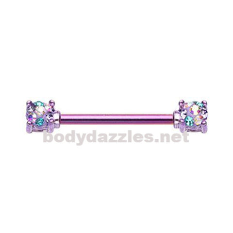 Color Multi Color Purple Sprinkle Dot Multi Gem Prong Set Nipple Barbell Ring 316L Surgical Steel Nipple Barbells