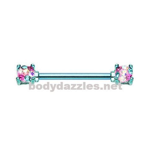 Color Multi Color Blue Sprinkle Dot Multi Gem Prong Set Nipple Barbell Ring 316L Surgical Steel Nipple Barbells