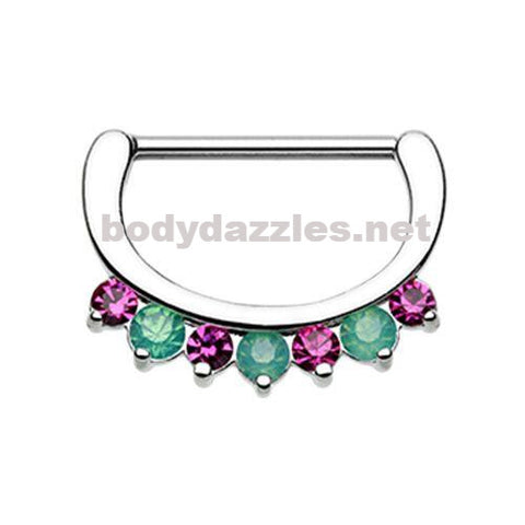 Pair of Classic Precious Fusia Gem Sparkle Nipple Clicker 316L Surgical Steel Nipple Barbells