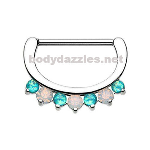 Pair of Classic White and Teal Opal Sparkle Nipple Clicker 316L Surgical Steel Nipple Barbells