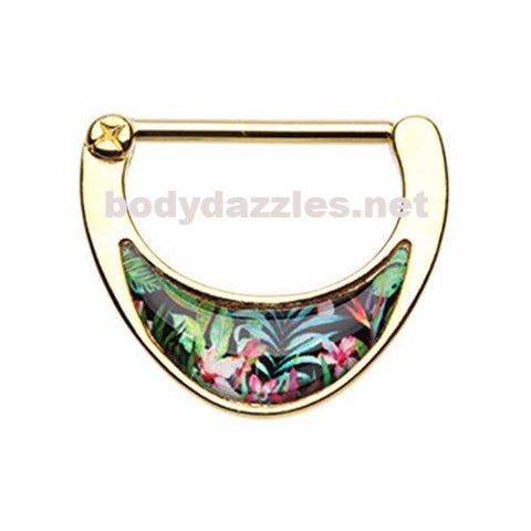Pair of Golden Tropical Inlay Nipple Clicker Nipple Barbell Ring Nipple Piercing 14ga Surgical Steel Body Jewery
