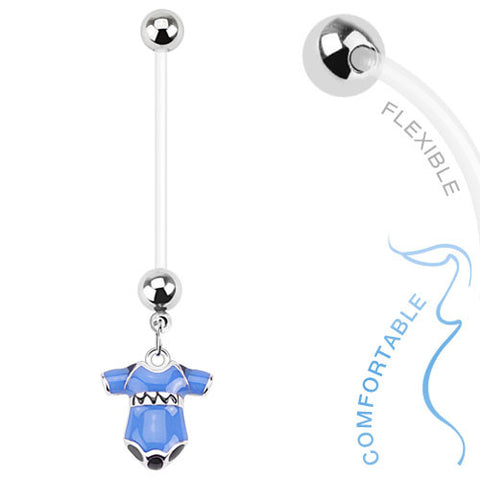 Pregnancy Belly Ring Boy or Girl Onsie 14ga Flexible Navel Ring - BodyDazzle