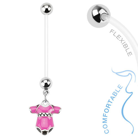 Pregnancy Belly Ring Girl or Boy Onsie 14ga Flexible Navel Ring - BodyDazzle - 1