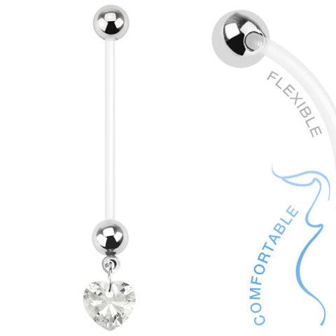 Pregancy Belly Ring Heart Rhinestone Bio Felx 14ga Body Jewelry Navel Ring - BodyDazzle
