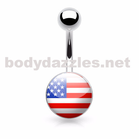 American Flag Logo Inlaid and Clear Epoxy Covered 316L Surgical Steel Belly Button Rings
