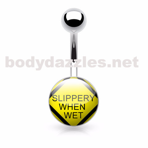 Slippery When Wet Text Logo Belly Ring Inlaid and Clear Epoxy Covered 316L Surgical Steel Belly Button Rings