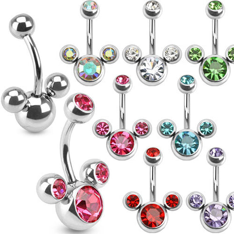 Mouse Triple Bubble Navel Ring 316L Surgical Steel Belly Ring Blue, Aurora Borealis, Clear - BodyDazzle