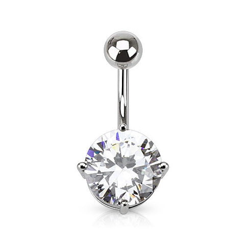 Clear Round CZ Prong Set Belly Ring 316L Surgical Steel Navel Ring - BodyDazzle - 1