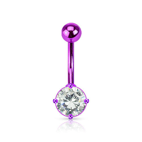 Purple Neon Navel Rings  Ion Plated Over 316L Surgical Steel Prong Set Belly Ring - BodyDazzle - 1