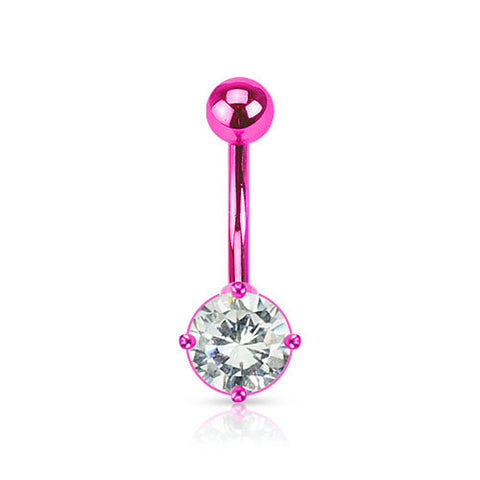 Pink Neon Navel Rings  Ion Plated Over 316L Surgical Steel Prong Set Belly Ring - BodyDazzle - 1