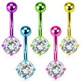 Pink Neon Navel Rings  Ion Plated Over 316L Surgical Steel Prong Set Belly Ring - BodyDazzle - 2