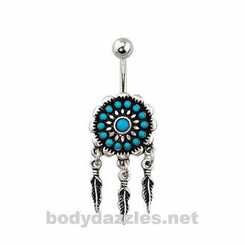 Tribal Acrylic Bead Dream Catcher Belly Ring 316L Surgical Steel Navel Ring