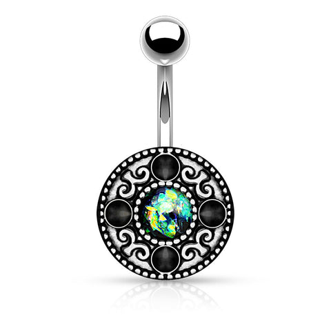 Tribal Fire Opal Green Belly Ring Navel Ring 14ga Surgical Steel Body Jewelry - BodyDazzle - 1