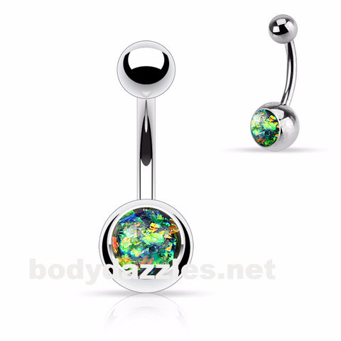 Opal Sparkly Belly Ring Dark Green Glitter 14ga Surgical Steel Body Jewelry Navel Ring - BodyDazzle