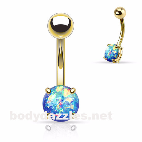 Blue Opal Prong Gold Stainless Steel Belly Ring 14ga Navel Ring Body Jewelry 316L surgical Stainless Steel - BodyDazzle