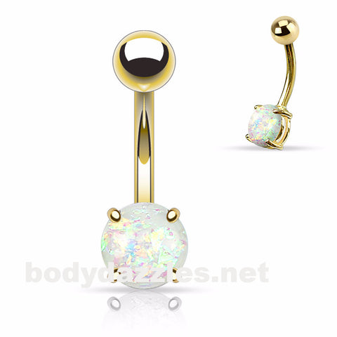 White Opal Prong Set Gold Belly Ring Body Jewelry 14ga Navel Ring 316L Surgical Steel - BodyDazzle
