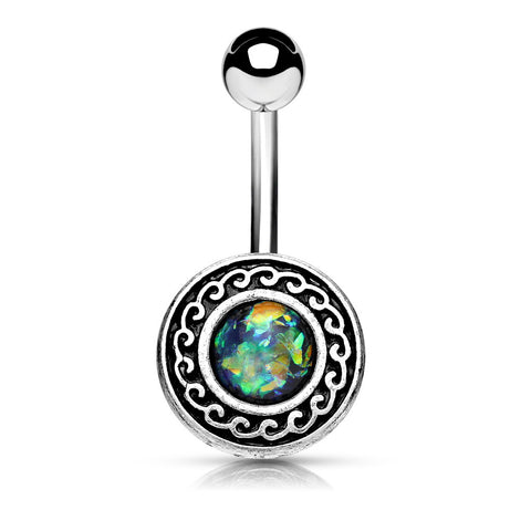 Green Antique Silver Plated Tribal Shield with Opal Glitter Center 316L Surgical Steel Belly Rings - BodyDazzle - 1