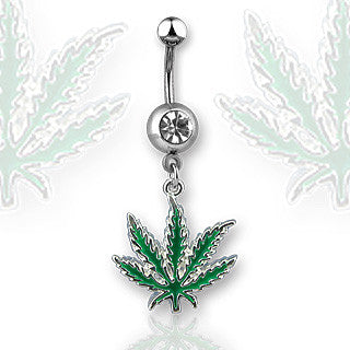 Pot Leaf Belly Ring Green Leaf Navel Ring Surgical Steel Body Jewelry 14ga - BodyDazzle