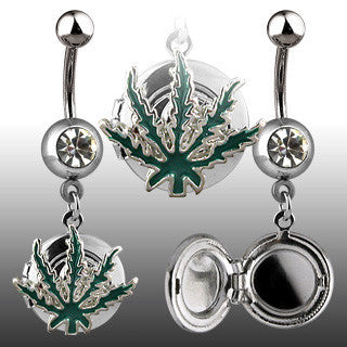 Pot Leaf Belly Ring with Locket Navel Ring Body Jewelry - BodyDazzle