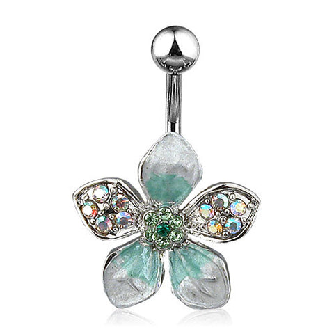 Tropical Flower Belly Button Ring with Green Paved Gems Navel Ring 14ga Surgical Steel - BodyDazzle