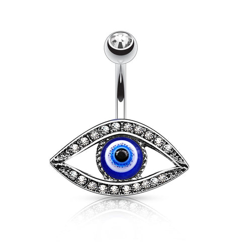 Lucky Eye Belly Ring Silver Navel Ring Body Jewelry Piercing Jewelry 14ga - BodyDazzle