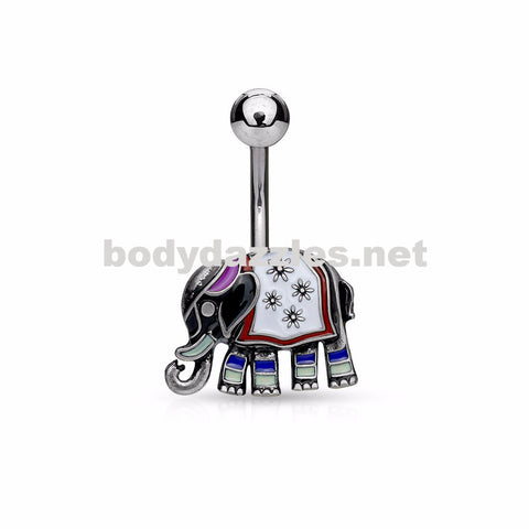 Elephant with Enamel Colored and Antique Silver Plated 316L Surgical Steel Belly Button Rings - BodyDazzle