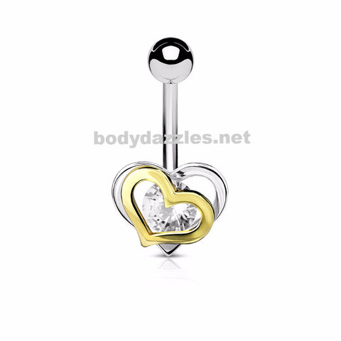 Gold and Steel Two-Tone Double Heart with CZ 316L Surgical Steel Belly Button Navel Rings 14ga