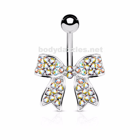 Bow Crystal Paved Ribbon Surgical Steel Belly Button Navel Rings 14ga