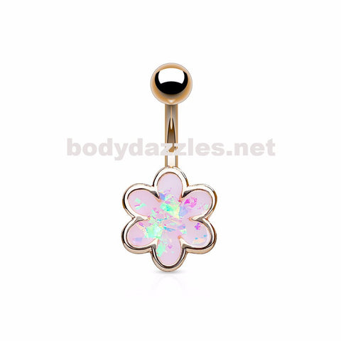 Rose Gold Opal Glitter Filled Petal Flower  Surgical Steel Belly Button Navel Rings 14ga