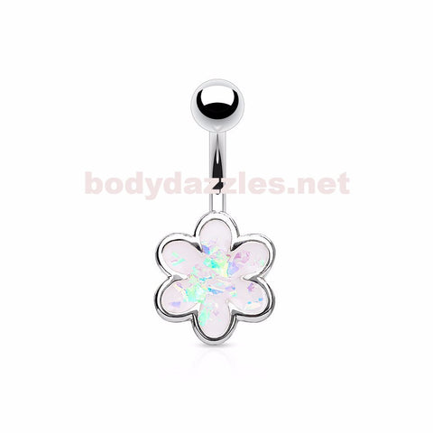 Opal Glitter Filled Petal Flower  Surgical Steel Belly Button Navel Rings 14ga