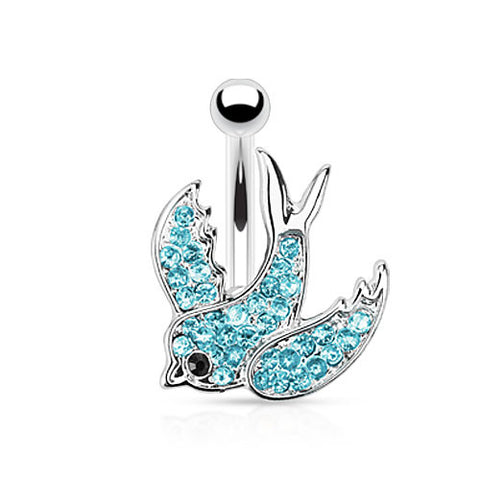 Blue Swallow Belly Ring with Paved Gems 316L Surgical Steel Navel Ring - BodyDazzle - 1