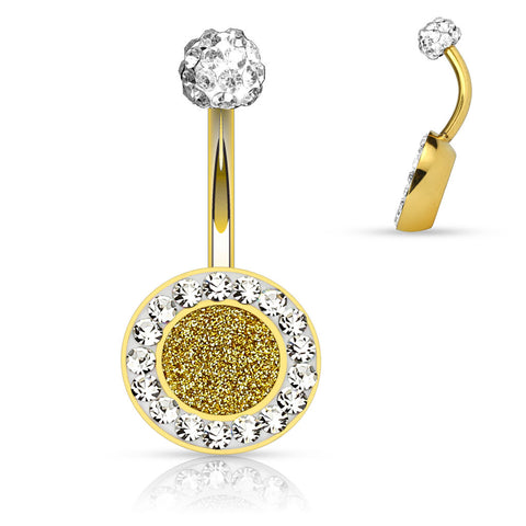 Gold Crystal Sparkly Belly Ring 14ga Surgical Steel Body Jewelry Navel Ring - BodyDazzle