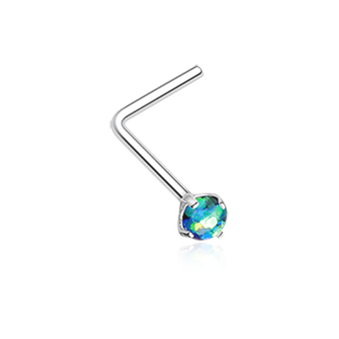 Dark Green Opal Sparkle Prong Set L-Shaped Nose Ring 20ga Body Jewelry - BodyDazzle
