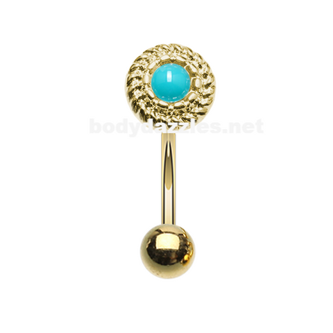 Golden Round Rope Turquoise Curved Barbell Eyebrow Ring Rook Daith Ring 16ga Body Jewelry - BodyDazzle